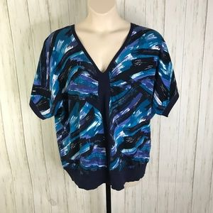 Lane Bryant Blue Abstract Print Sweater 22…